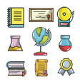 set of school elements pixel art vector image
