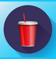 soda red plastic beaker with a tube for take-away vector image vector image
