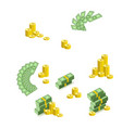 stacks piles fan of dollar banknotes and coins vector image vector image