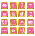 summer rest icons pink vector image vector image