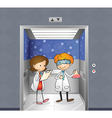 Two doctors inside the elevator vector image vector image