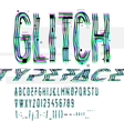 Typographic glitch font with digital decay vector image