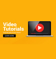video tutorial online player icon media player vector image