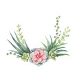 watercolor wreath cacti and succulent vector image vector image