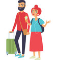 young happy couple travelling vector image
