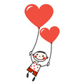Smiling boy with heart shaped balloons vector image