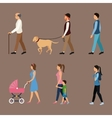set people walking concept vector image