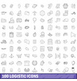 100 logistic icons set outline style vector image vector image