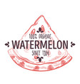 100 percent organic watermelon label with slice of vector image
