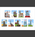 ancient castles and fortresses set medieval vector image vector image