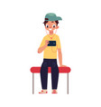 boy schoolboy teenager travelling by subway vector image vector image
