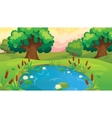 Cartoon Pond Near The Forest vector image vector image