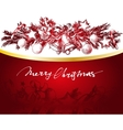 Christmas red and gold background with fir twigs vector image