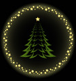 christmas tree background with circle stars vector image