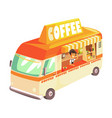 coffee truck cafe on wheels colorful vector image vector image