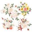 collection realistic flowers roses and lilies vector image vector image