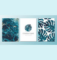 colorful monstera leaf cards or flyers vector image vector image