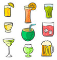 colorful various drink doodle set vector image vector image