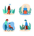 disabled elderly people set in flat style vector image