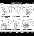 educational cartoon alphabet letters set from m vector image vector image