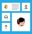 flat call set of secretary call center earphone vector image vector image