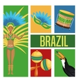 Garota cartoon of brazil and icon set vector image