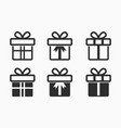 gift box surprise icons set present package vector image