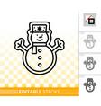 gingerbread cookie snowman black line icon vector image vector image