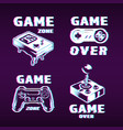 glitch graphic style gaming labels set vector image vector image