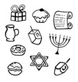 hanukkah a set of traditional attributes of the vector image vector image