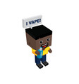 isometric block electric cigarette guy personal vector image vector image