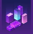 isometric ultraviolet city vector image vector image