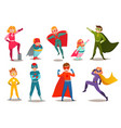 kids superheroes retro set vector image vector image