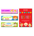 kids theme banners flyers for children school vector image vector image