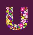 letter of beautiful flowers u vector image