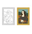 Linear flat of portrait The Mona Lisa by Leonardo vector image vector image