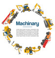 machinery and construction equipment cars vector image vector image