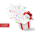 Open Gift and Confetti Christmas vector image