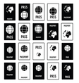 passport travel set in black and white color vector image