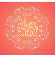 Pink Easter background with greeting inscription vector image