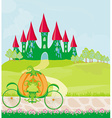 pumpkin carriage standing in front of a fairytale vector image