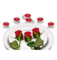 red roses on white plates realistic vector image vector image