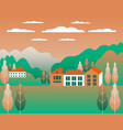 rural valley view farm countryside village vector image vector image