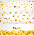 set banners falling gold coins in different vector image