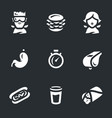 set fast eating icons vector image vector image