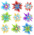 set of 9 different element with random radial vector image