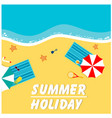 summer holiday holizon beach umbrella and chair ba vector image vector image