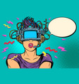 surprised woman in vr glasses vector image vector image