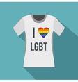 T-shirt i love LGBT icon flat style vector image vector image