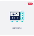 two color ekg monitor icon from dentist concept vector image